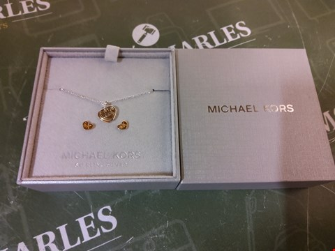 Lot 10 BOXED MICHAEL KORS TWO TONE LOGO HEART NECKLACE AND EARRINGS SET