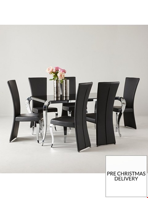 Lot 2063 BOXED GRADE 1 BOUTIQUE BLACK/CHROME DINING TABLE