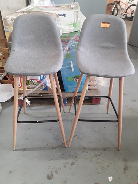 Lot 394 PAIR DESIGNER GREY FABRIC BAR STOOLS