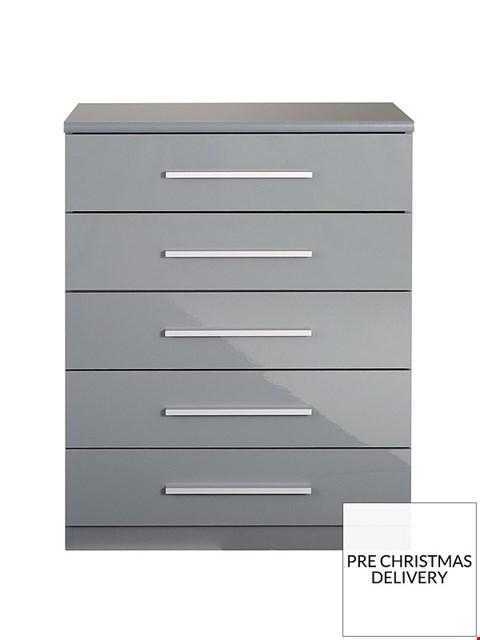 Lot 3516 BOXED NEW PRAGUE GLOSS GREY 5 DRAWER CHEST