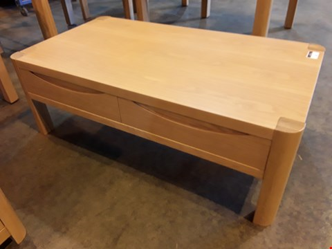Lot 61 DESIGNER OAK RECTANGULAR COFFEE TABLE WITH DRAWERS RRP £649.00