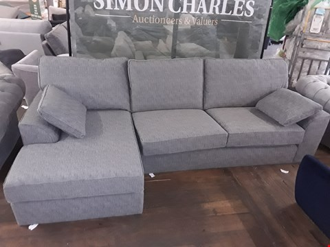 Lot 58 QUALITY BRITISH MADE GREY FABRIC RIGHT HAND CHAISE SOFA WITH CUSHIONS