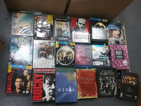 Lot 12020 A BOX OF APPROXIMATELY 27 ASSORTED DVD/BOXSETS TO INCLUDE A JASON STATHAM COLLECTION AND A ROCKY BOXSET