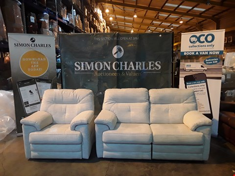 Lot 9006 QUALITY BRITISH MADE HARDWOOD FRAMED CREAM FABRIC POWER RECLINING TWO SEATER SOFA AND POWER RECLINING ARMCHAIR