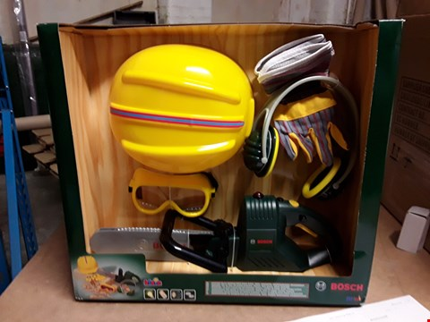 Lot 534 BOSCH CHAINSAW, HELMET AND WORK GLOVES  RRP £61.99