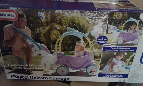 Lot 10793 LITTLE TIKES MAGICAL UNICORN CARRIAGE RRP £149.99