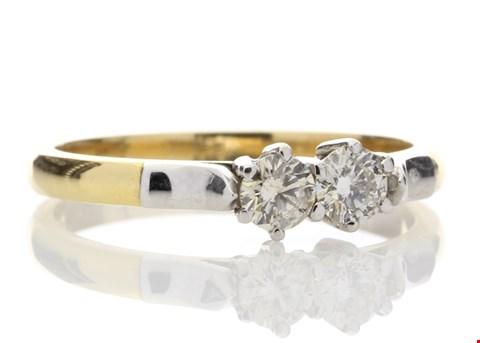 Lot 2 18ct TWO STONE CLAW SET DIAMOND RING 0.33ct RRP £2295
