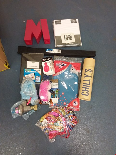 Lot 10576 BOX OF A SIGNIFICANT QUANTITY OF ASSORTED HOUSEHOLD ITEMS TO INCLUDE FUNJEE HOT WATER BOTTLE, SWIMMING GOGGLES, DESIGNER PILLOW CASE ETC