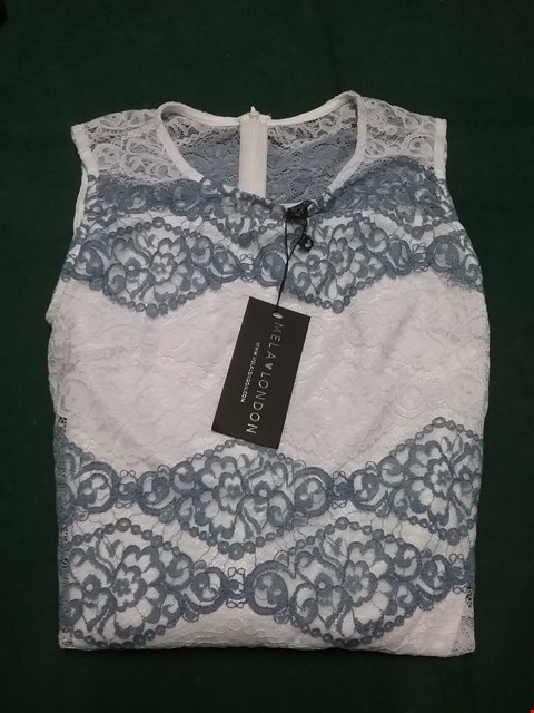 Lot 62 MELA LONDON WHITE/BLUE LACE BODYCON DRESS SIZE 8