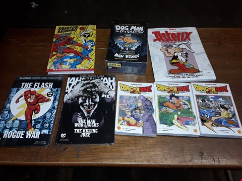 Lot 165 LOT OF APPROXIMATELY 8 ASSORTED BOOKS TO INCLUDE DOG MA  THE EPIC COLLECTION, ASTERIX OMNIBUS 1 AND THE FLASH ROUGUE WAR ECT