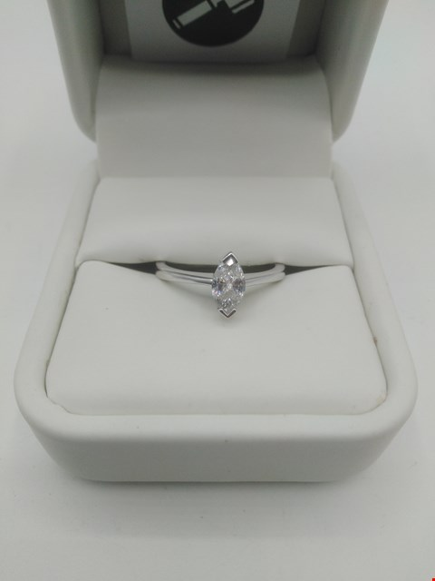 Lot 22 18CT WHITE GOLD SOLITAIRE RING SET WITH A MARQUISE CUT DIAMOND WEIGHING +0.53CT RRP £2100.00