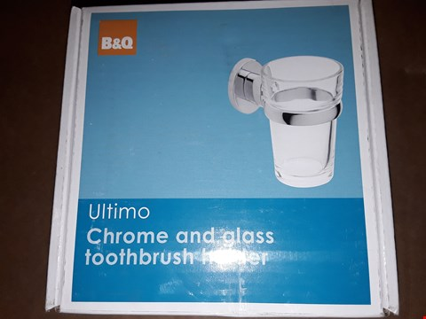 Lot 7032 2 ULTIMO CHROME AND GLASS TOOTHBRUSH HOLDERS