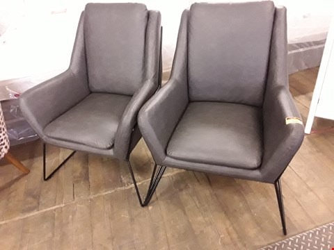 Lot 121 LOT OF 2 CHARCOAL FAUX LEATHER ARMCHAIRS ON METAL FRAMES