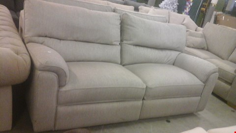 Lot 1245 DESIGNER GREY FABRIC RECLINING 3 SEATER SOFA