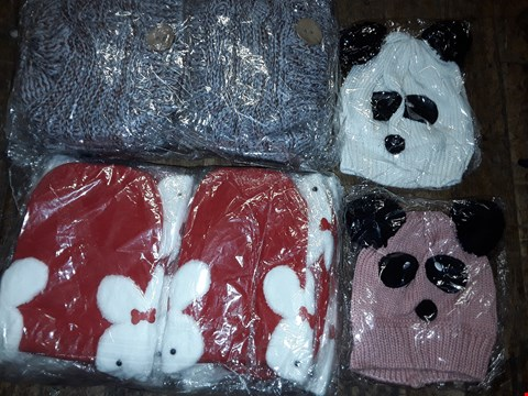 Lot 1111 BOX OF APPROXIMATELY 70 ASSORTED BRAND NEW HATS TO INCLUDE RED RABBIT BEANIE, KNITTED PANDA HAT
