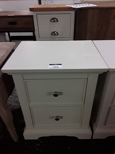 Lot 7058 DESIGNER LIGHT BEIGE TWO DRAWER BEDSIDE