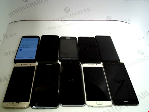 Lot 3368 LOT OF 10 ASSORTED SMARTPHONES; VARIOUS MAKES AND GRADES