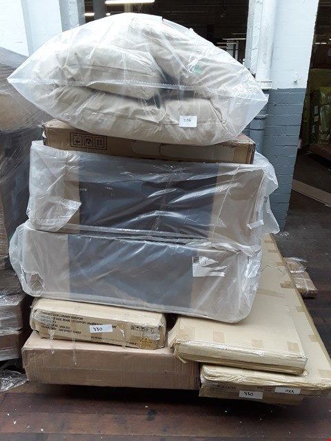Lot 6336 PALLET OF ASSORTED FLAT PACK FURNITURE TO INCLUDE BED FRAMES, FABRIC DIVAN BASES, CHARLES 3 DOOR 2 DRAWER WARDROBE PARTS ETC