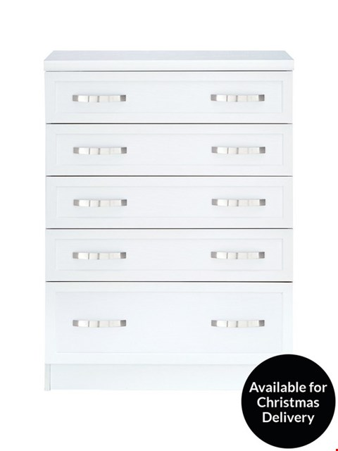Lot 7043 BOXED GRADE 1 CAMBERLEY WHITE 5-DRAWER GRADUATED CHEST (1 BOX)