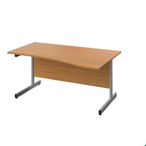 Lot 8047 BRAND NEW BOXED OCTET PLUS LEFT HAND 1400MM WAVE WORKSTATION - BEECH WITH SILVER FRAME REF ZFPW1410