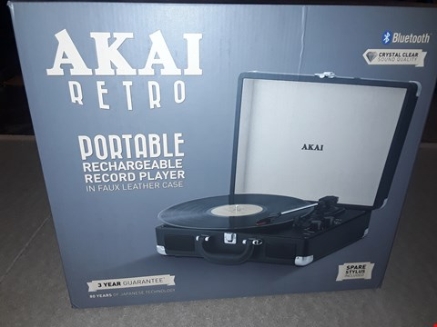 Lot 2056 AKAI BLUETOOTH PORTABLE RECHARGEABLE RECORD PLAYER