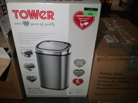 Lot 2580 TOWER 58L SQUARE SENSOR BIN STAINLESS STEEL