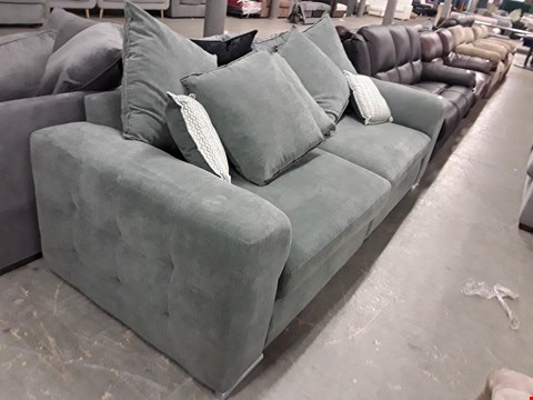 Lot 352 TWO DESIGNER GREY GREEN FABRIC SOFA SECTIONS WITH SCATTER BACK CUSHIONS COMPRISING A THREE SEATER SOFA