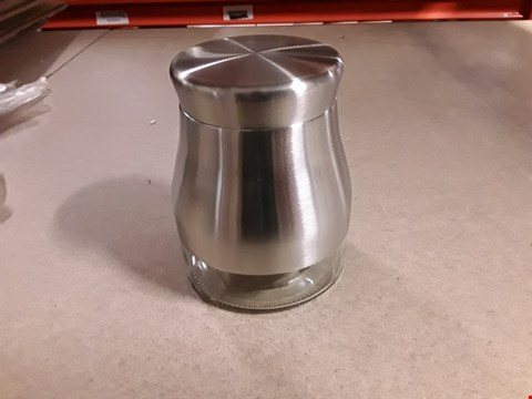 Lot 1365 STAINLESS STEEL GLASS CANISTER SET RRP £18