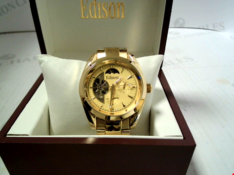 Lot 7158 DESIGNER EDISON AUTOMATIC MOONPHASE WATCH WITH GOLD TONE STRAP AND DIAL  RRP £600.00