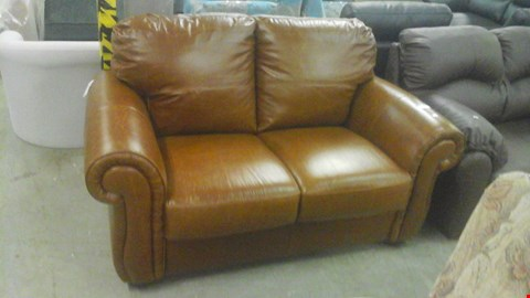 Lot 1241 DESIGNER BROWN LEATHER SCROLL ARM 2 SEATER SOFA