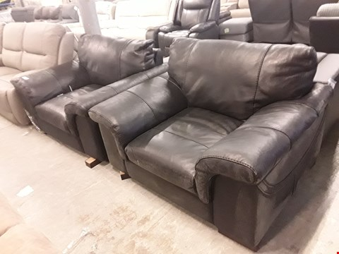 Lot 2004 TWO DESIGNER GUY BLACK LEATHER LARGE ARMCHAIRS