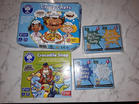 Lot 233 LOT OF 4 ASSORTED CARD GAMES TO INCLUDE FRACTION  ACTION SNAP, CROCODILE SNAP AND CRAZY CHEF