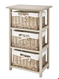 Lot 34 BOXED SPILT WILLOW WOODEN FRAME 3 DRAWER STORAGE UNIT RRP £85.00