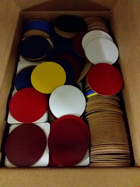 Lot 418 BOX OF APPROXIMATELY 500 ASSORTED LEATHER DRINKS COASTERS