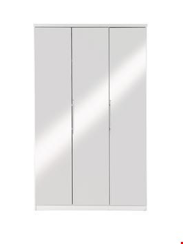 Lot 2081 BOXED GRADE 1 PRAGUE WHITE 3 DOOR WARDROBE WITH MIRROR  (3 BOXES) RRP £513