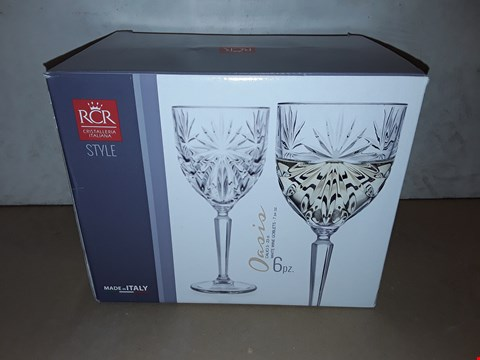 Lot 8025 BOXED SET OF 6 RCR OASIS WHITE WINE GOBLETS - 23CL