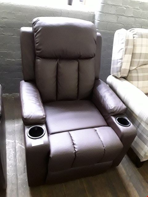 Lot 71 DESIGNER KINO BROWN LEATHER PUSH BACK RECLINING EASY CHAIR RRP £300