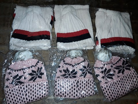 Lot 1087 BOX OF APPROXIMATELY 70 ASSORTED BRAND NEW HATS TO INCLUDE PINK/BLACK KNITTED HAT WITH FAUX FUR POMPOM, STRIPE KNITTED HAT WITH KNITTED SCARF