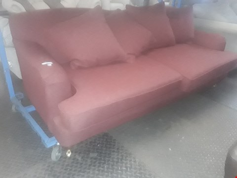 Lot 32 QUALITY BRITISH DESIGNER CLARET FABRIC REGENCY STYLE THREE SEATER SOFA WITH SCATTER CUSHIONS