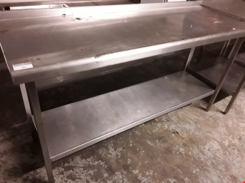 Lot 85 RECTANGULAR METAL WORK TABLE WITH UNDERSHELF