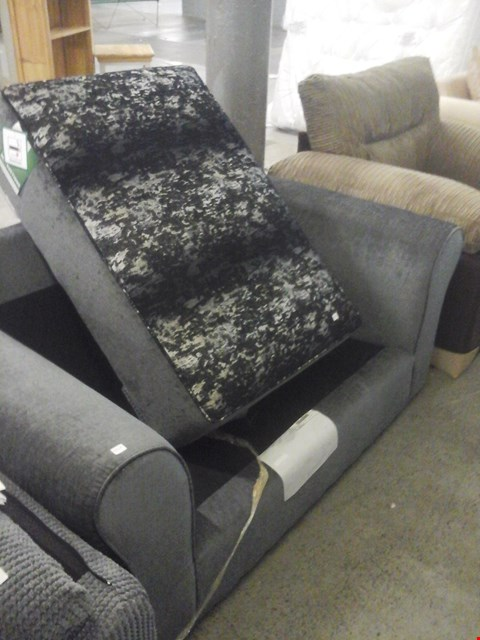 Lot 62 DESIGNER GREY FABRIC 2 SEATER SOFA ( WITHOUT CUSHIONS ) AND BLACK/GREY FABRIC FOOTSTOOL