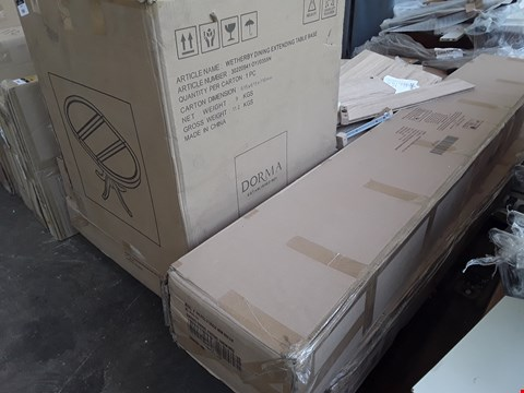 Lot 7084 PALLET OF ASSORTED BOXED FURNITURE PARTS INCLUDING DINING TABLE PEDESTAL,  6' STORAGE BED PARTS