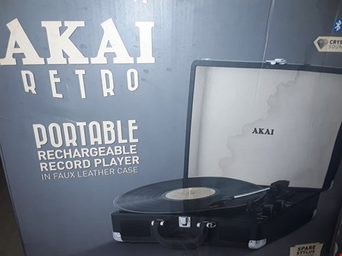 Lot 2064 AKAI BLUETOOTH PORTABLE RECHARGEABLE RECORD PLAYER