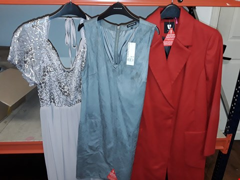 Lot 2 BOX OF APPROXIMATELY 19 ASSORTED CLOTHING ITEMS TO INCLUDE PREMIUM LONGLINE COAT, SUEDETTE POCKET SHIFT DRESS, LITTLE MISTRESS SEQUIN MAXI DRESS