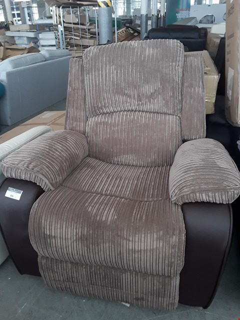 Lot 66 DESIGNER MADISON BROWN JUMBO CHORD & FAUX LEATHER POWER RISE/RECLINE EASY CHAIR RRP £539.99