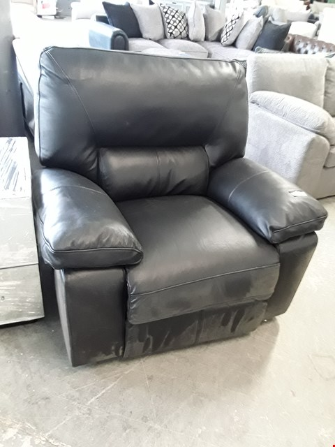 Lot 130 DESIGNER BLACK  LEATHER POWER RECLINING ARMCHAIR