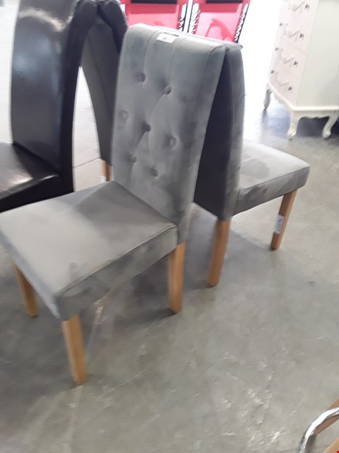 Lot 65 PAIR OF DESIGNER GREY PLUSH VELVET DINING CHAIRS
