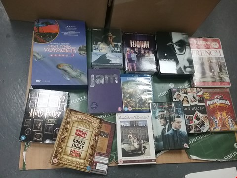 Lot 12073 A BOX OF APPROXIMATELY 18 ASSORTED DVD/BOXSETS TO INCLUDE A STAR TREK VOYAGER DVD AND A HARRY POTTER DVD