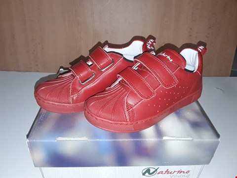 Lot 12641 BOXED NATURINO YOUNG RED LEATHER VELCRO STRAP TRAINERS UK SIZE 10 JUNIOR