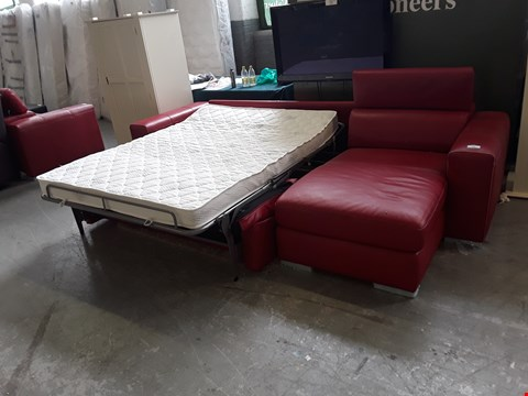 Lot 50 BRAND NEW QUALITY ITALIAN DESIGNER RED LEATHER CHAISE SOFA WITH METAL ACTION SOFA BED AND ADJUSTABLE HEADRESTS